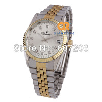 1pcs new fashion designer luxury best mechanical watches gold and silver steel band lady automatic calendar watch