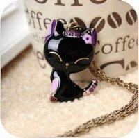 HOT SALE   Korean retro long black oil paint cat fashion necklaces free shipping