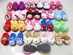 Free shipping Wholesale 2-3 years children's slippers winter cute furry slippers cotton cartoon slippers 20pairs Top quality(China (Mainland))