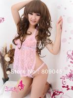 Sexy Black&Pink Lace Lingerie set hot Sleepwear Dress+G-STRING Sexy one size Sleepwear,Underwear,Uniform ,Kimono Costume 80113-3