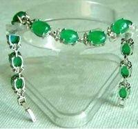 Rare Tibet silver inlay green jade bangle bracelet