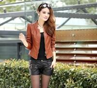 Free shipping fashion lady's short design slim water washing PU coat, women's leather clothing plus size jacket