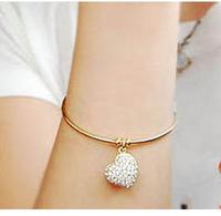 New Fashion Crystal Heart Bangle Lady's Ring Shape Full Crystal Peach Heart Bracelets Women SB071