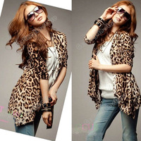 Fashion Womens Ladies Long Sleeve Cotton Blend Leopard Casual Blouse Tops Coat Jacket Cardigan Size S S Free Shipping 0780