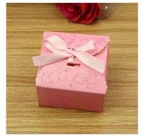 Free Ship[ping Wholesale 100PCS Creative Wedding Candies Box Sprinkled Gold Belt Bowknot Wedding Supplies