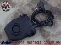 Tactical Scope EMERSON Peltor PTT for Motorola Double Pin(BK) free ship(China (Mainland))