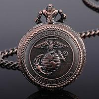 Free Shipping Rare Copper Quartz USA Marine Corps Pocket Watch Gift for Woman Men