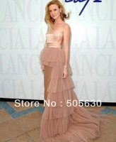 CJN28          2013  Unique strapless neckline asymmterial layer tulle    evening dress
