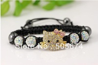 Hello Kitty Shamballa Bracelets Hand weaving 10mm Disco CZ Beads Macrame Bracelet