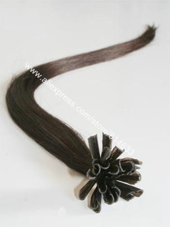 100% Indian Remy Hair #1B Black Silky Straight Keratin Nail-tip Hair Extension 100s/lot(China (Mainland))