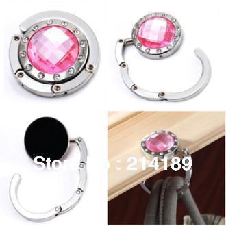 Free Shipping  sale Mix colors Fashion Round foldable Bag Hanger/Purse Hook/Handbag Holder with Acrylic