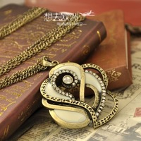 HOT SALE   Retro flower cute long diamond crystal Korean fashion necklaces free shipping