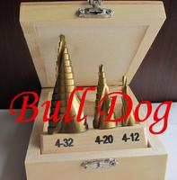 On sale Free Shipping --3pcs/set HSS Metric Spiral Flute Step Drill Bit Set 4241 Steel Titanium Coated Step Drill Bit Set