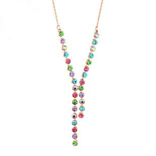 Neoglory Freeshipping NC-145 multicolors 18k real gold plating necklace chains Rihood Trading 2013 new arrival(China (Mainland))
