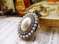 HOT SALE   Korean retro pearl long box classic Palace fashion necklaces free shipping