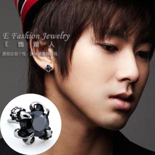 Mens Earrings Studs Black Diamond Bat Wall