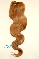 "2pcs,#27,LIGHT GOLDEN BROWN,14""-20"" VIRGIN REMY BRAZILIAN BODY WAVE WAVY,Celebrity Charming color,Christmas TOP QUALITY,DHL FREE"