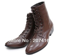 Pointed Toe Men's Shoes Ankle Boots,Black/Brown Punk Lace-Up Man-Made Leather Outdoor Fashion Boot,US Size 6-10/EU Size 38-44