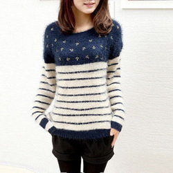 Free shipping 2012 new autumn and winter women stripe o-neck , Navy wind pattern hippocampus wool angora sweater #TB003(China (Mainland))