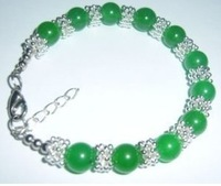 NEW beautiful Tibet Silver green Jade Bead Bracelet handmade