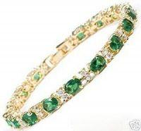 Stunning Green Crystal Bangle Bracelet 7.5''