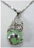 Natural Jade Silver Dragon Pendant & Necklace