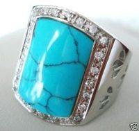 Stunning tibet silver men's turquoise rings size 10