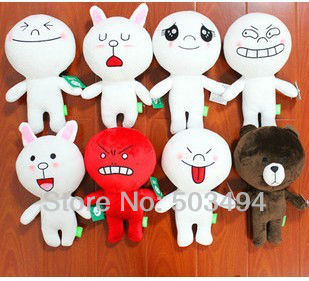"Free Shipping EMS 50/Lot Cute 8 types to choose Emoticon dolls from Line App software New 12"" Wholesale(China (Mainland))"
