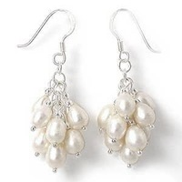 Exquisite White Fresh Water Pearl Silver Hook Earrings