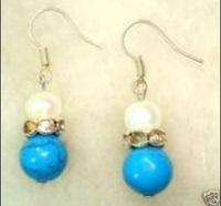 Refined Turquoise Jade & White Pearl Earring