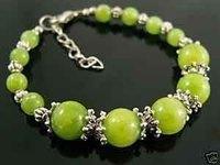 Fad Tibet Silver Green Jade Bead Bracelet