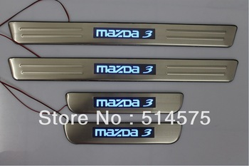 Free shipping! High quality! Stainless steel blue LED door sill scuff plate cover trim for Mazda 3 2003 2004 2005 2006 2007 2008