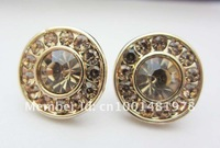 Free shipping Min order is $10(mixed order) Fashion Golden crystal earrings Price of factory direct sales