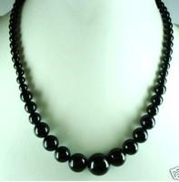 Beautiful 6-14mm Black Jade Big Beads Necklace