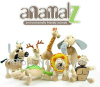 Best ANAMALZ 24 Moveable Wooden Toys Zoo Animals Dolls Maple Wood Textiles Toys For Kids Free Shipping