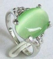Gorgeous green jade women'S Rings Size: 8#ZZ