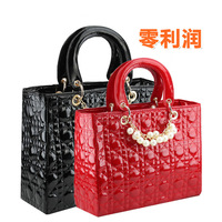 Red bags bridal bag 2012 women's handbag,black plaid leather bag,white pearl bag