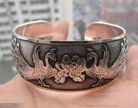 Wonderful Tibetan tribe Tibet silver Totem Lucky Peacock Cuff Bracelet bangle