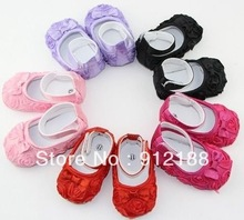 Free shipping 3 prs/lot Hot Pink Mary Jane Baby Shoes,Girls Toddler Soft Sole with Rose Flowers(China (Mainland))