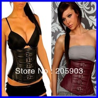 Free shipping 2012 Sexy underwear lingerie Wholesale 12pcslot Steel boned corset Faux leather Gothic Cincher Coffee Black 5267
