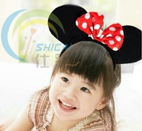 Minnie mouse ear,Mickey mouse ear headbands with bow/Animal ear headband