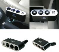 Free shipping 3 ways Car Cigarette Lighter Socket Splitter Charger with USB port,3 Way Car Cigarette Charger Socket Adapter