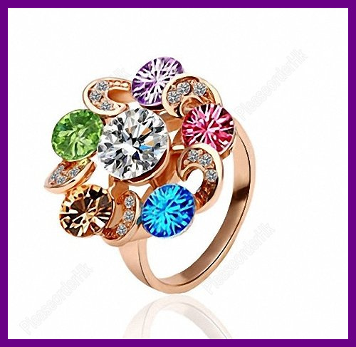 Hot Sale Jewelry Happiness Ferris Wheel Colorful Crystal Female Ring Gold Free Shipping(China (Mainland))