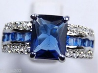 Genuine Blue Tourmaline Tanzanite Silver Ring