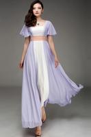 SD79 New Silk chiffon Maxi Long Dress Plain color  full linning lace dress  Plus size drop shipping support