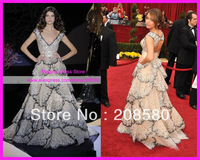 Luxury Ball Gown Cap Sleeve V Neck Sequins Red Carpet Dress Celebrity Dresses E2167