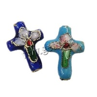 Free Shipping 100PCs/Bag Filligree Cloisonne Beads Cross Mixed Color  14x18x5mm Hole:Approx 1mm DIYJewelry!!!