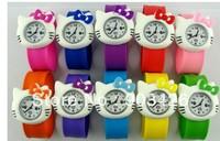 Free shipping by DHL! 100pcs/lot ! Fashion Cartoon Snap Watch Hello Kitty Kids Slap Wristwatch G2090 on Sale Wholesale
