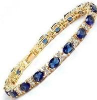 Blue Zircon Sapphire Beads 18KGP Crystal Link Bracelet
