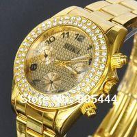 New Dress SOKI Crystal Golden Case Womens Ladies Anlaog Quartz Wrist Metal Band Watch W115